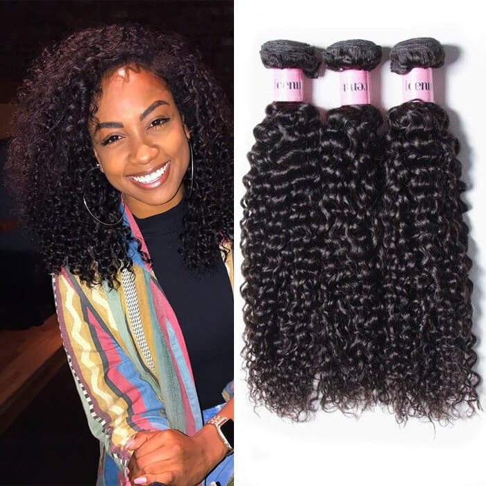 Unice 3pcspack Indian Jerry Curly Human Hair Extensions Unice