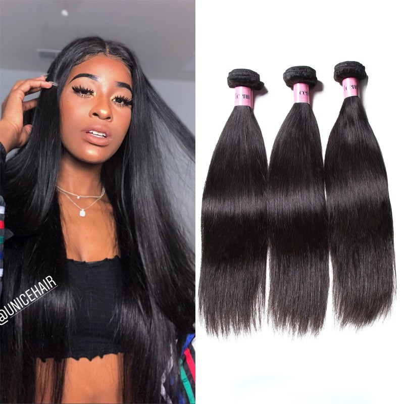 UNice Hair Icenu Series 3 Bundles Bone Straight Malaysian Human Hair Weaving