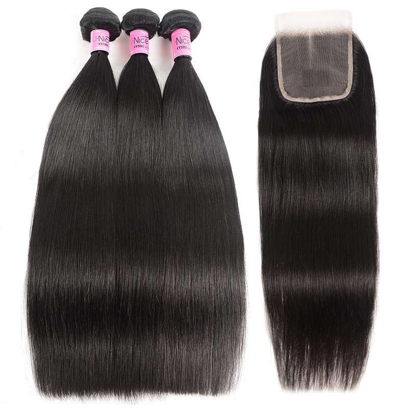 UNice Hair 3 Bundles Peruvian Straight Hair Weft With Closure Icenu Series
