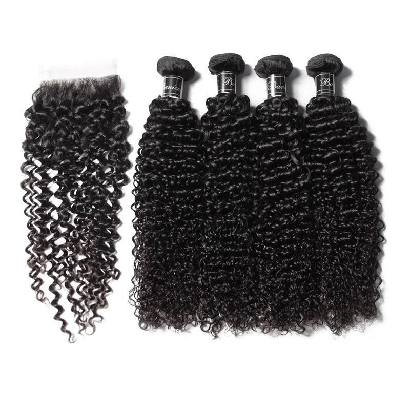 Banicoo Series 4 Bundles Jerry Curly Hair Extension With Hand Made Lace Closure
