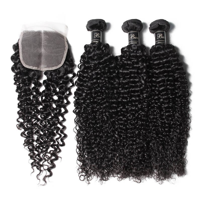 UNice Hair Banicoo Series Jerry Curl Hair 3 Bundles With 4x4 Lace Closure