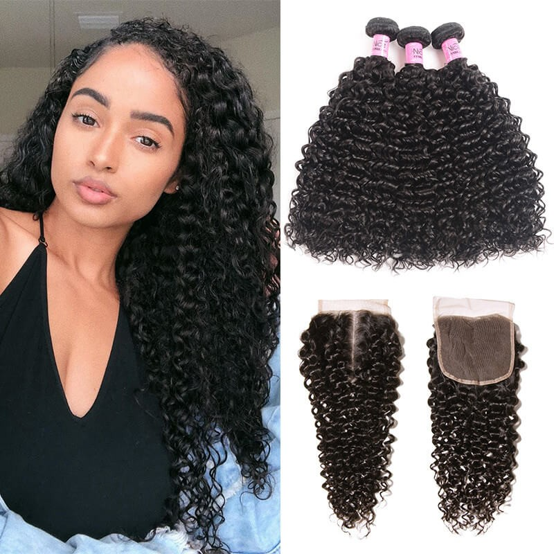 UNice Hair Icenu Series 3 Bundles Indian Jerry Curly Human Hair With Lace Closure