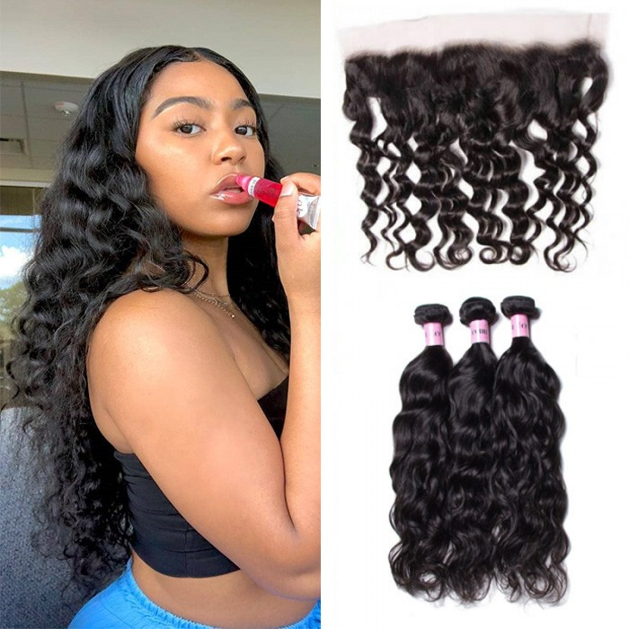 UNice Hair 3pcs Natural Wave Hair Weft With Lace Frontal Closure Icenu Series