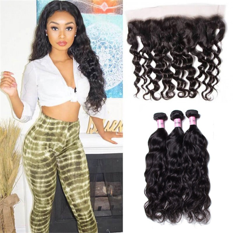 UNice Hair Icenu Series 3pcs Natural Wave Hair Weft With Lace Frontal Closure