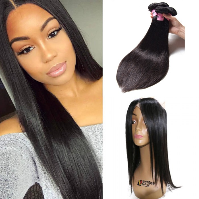 4 Bundles Virgin Straight Hair With 360 Lace Frontal Closure