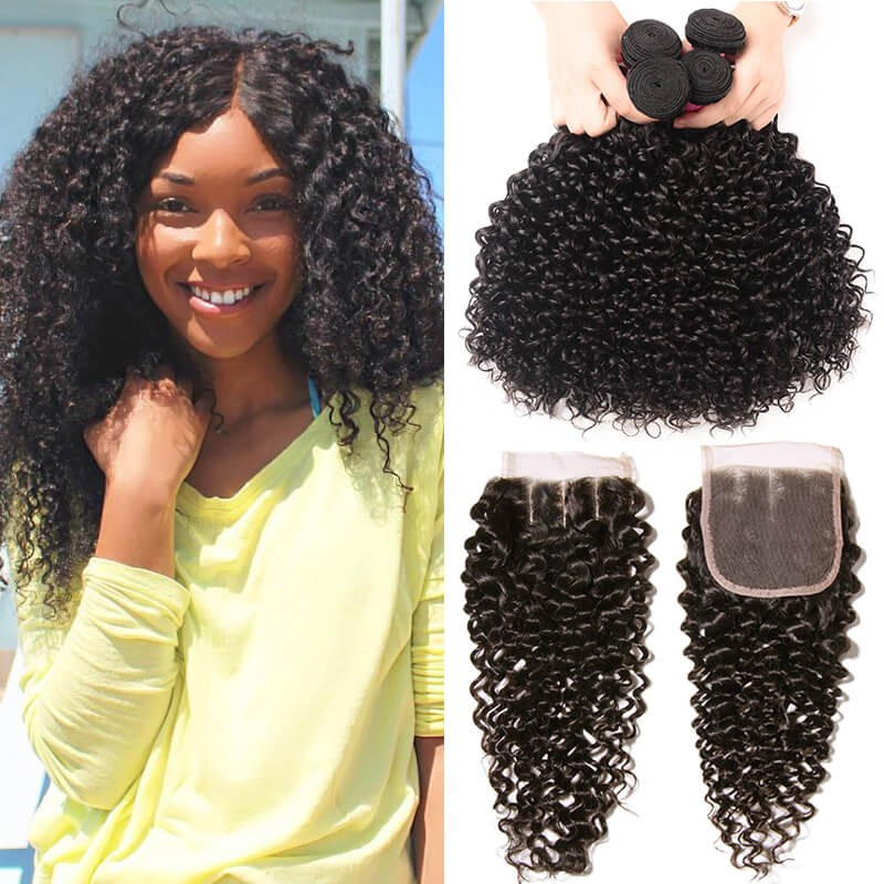 UNice Hair Icenu Series 4pcs Indian Jerry Curly Human Hair Weaves With Closure