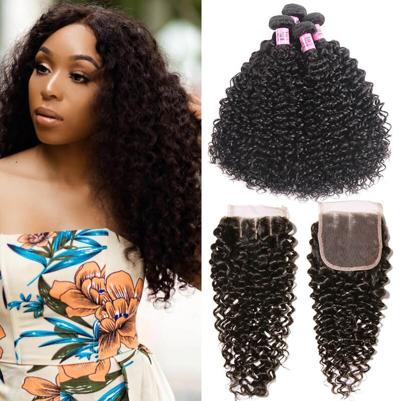 UNice Hair Icenu Series 4Pcs Malaysian Jerry Curly Hair Weft With Closure