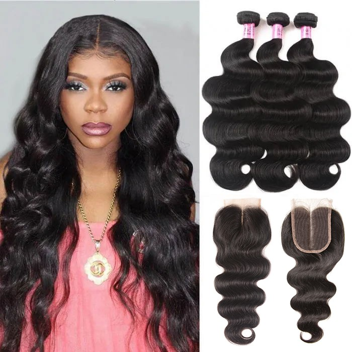 UNice Hair Icenu Series 3pcs Indian Virgin Hair Body Wave With Closure