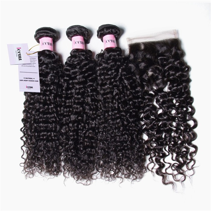 UNice 3 Bundles Brazilian Jerry Curly Hair Weave With Closure