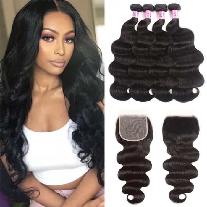 Unice Hair Icenu Series Body Wave Transparent Closure And Bundles 4 Pcs Body Wave With 5 5 Inch Transparent Closure Unice Com