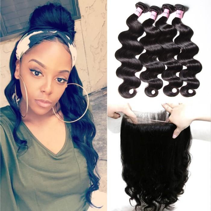 Body Wave 360 Lace Closure With 4pcs Remy Hair Bundles