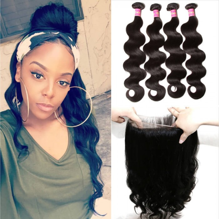 Body Wave 360 Lace Closure With 4pcs Remy Hair Bundles