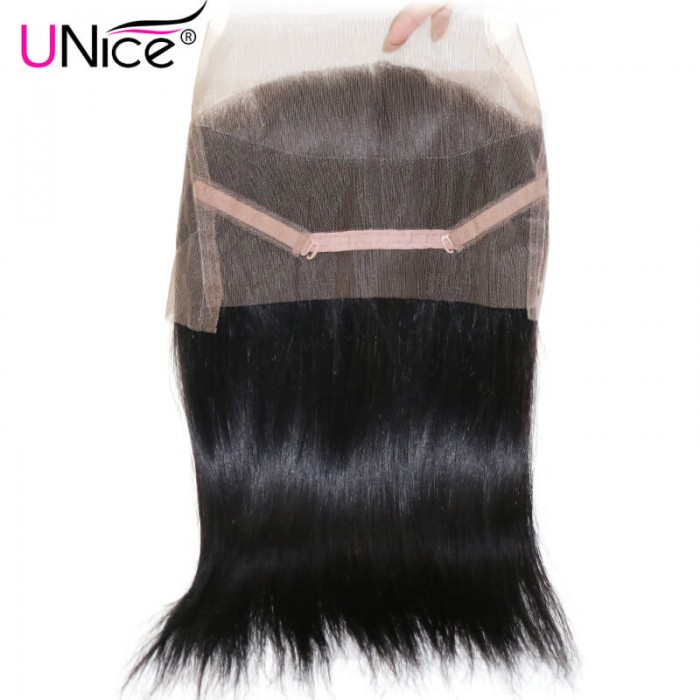 3 Bundles Straight Human Virgin Hair With 360 Lace Frontal Closure