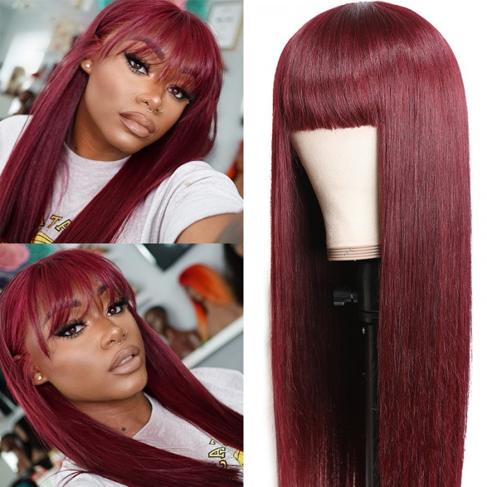 Unice Burgundy Silk Straight Human Hair Wigs With Bangs Glueless Machine Made Wigs For Women Real Hair Wig Unice Com