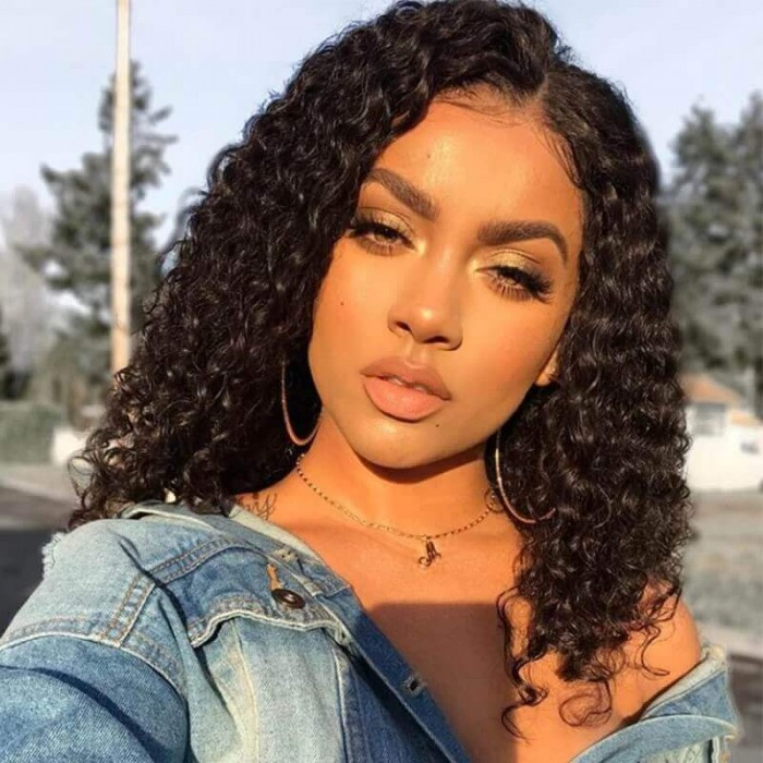 Unice Hair Bettyou Wig Series Popular 8 14 Inch Length Natural Black Human Hair Bobo Curly Wig With Hand Tied Lace
