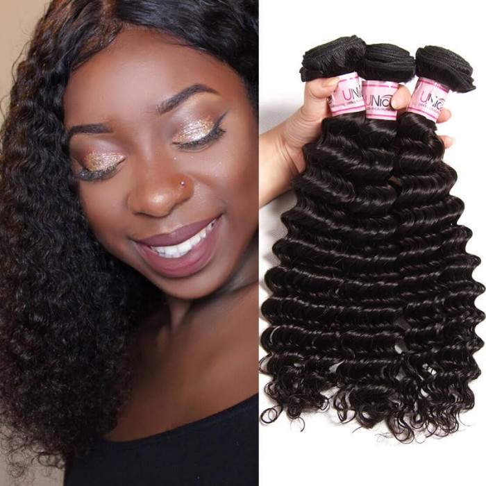 UNice 8A Grade Deep Wave Remy Human Hair Weft 3 pcs/Lot