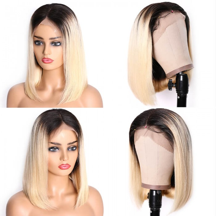 Fashion Women Bob style Platinum Blond Ombre Medium wig Short Straight Hair wigs