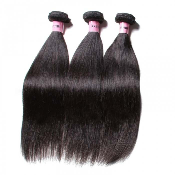 Icenu Series 3 Bundles Straight Human Virgin Hair With 360 Lace Frontal Closure