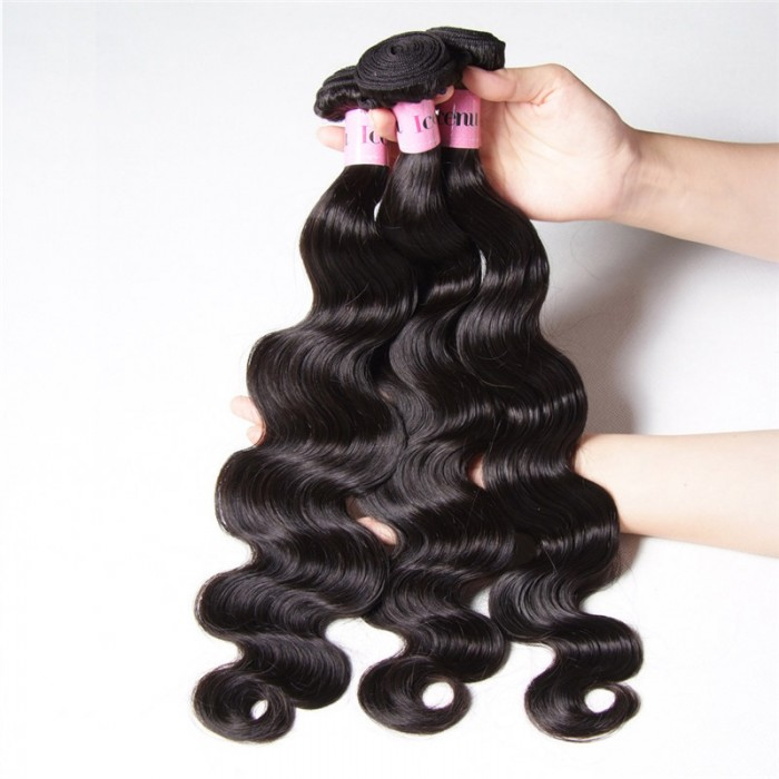 Peruvian Body Wave Lace Closure With 3pcs Human Hair Weave