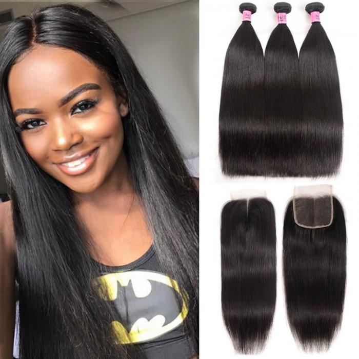 Unice Virgin 3pcs Brazilian Hair Straight Bundles With