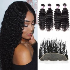 UNice Hair Icenu Series 4pcs Human Deep Wave With Frontal Hair Lace Closure