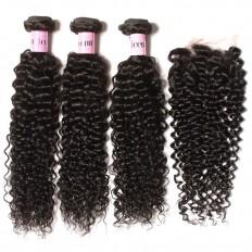 UNice Hair Icenu Series 3 Bundles Brazilian Jerry Curly Hair Weave With Closure