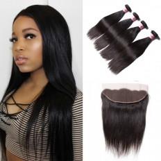 UNice Hair Icenu Series Straight Virgin Human Hair 4 Bundles With Frontal Hair Closure