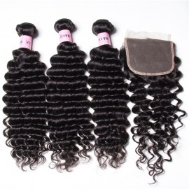 UNice 3 Bundles Virgin Deep Wave Human Hair With Lace Closure