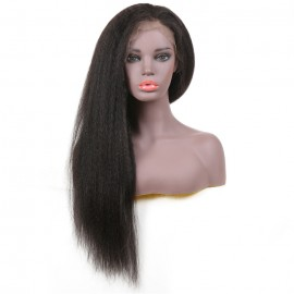 UNice-Bettyou Brazilian 100% Human Hair Long Kinky Straight Black Front Wig Wig