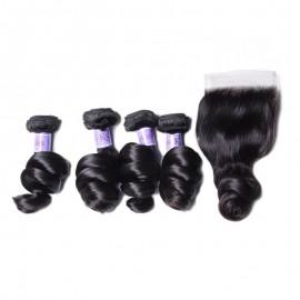 UNice Hair Kysiss Series Peruvian 4 Bundles Loose Wave Virgin Hair With Closure