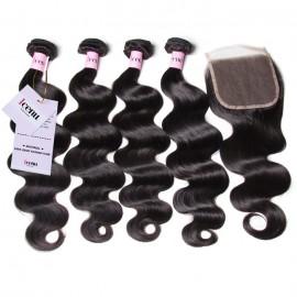 UNice Hair Icenu Series 4pcs Brazilian Body Wave Hair Bundles With Lace Closure