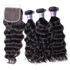 UNice Hair Kysiss Series Good Quality 3pcs Peruvian Natural Wave Virgin Hair With Closure