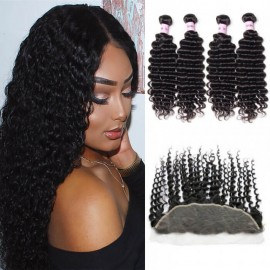 UNice Hair Icenu Series 4pcs Human Deep Wave With Frontal Hair Lace Closure