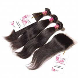 UNice 3 Bundles Peruvian Straight Hair Weft With Closure