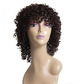 Curly Human Virgin Hair Wigs With Bangs