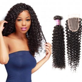 UNice 4Pcs Malaysian Jerry Curly Hair Weft With Closure