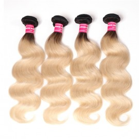 UNice 4 Bundles T1b/613 Ombre Blonde Hair 100% Virgin Human Hair Body wave Hair Weav