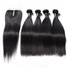 Banicoo Series 4 Bundles 10A Grade Unprocessed Raw Virgin Straight Hair With Lace Closure