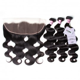 Body Wave Hair With Lace Frontal Hair Closure