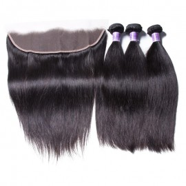 UNice Hair Kysiss Series Straight Virgin Hair 3 Bundles With Lace Frontal Closure