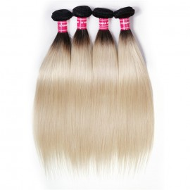 UNice Hair 1B/613 Honey Blonde Straight Virgin Human Hair 4 Bundles Ombre