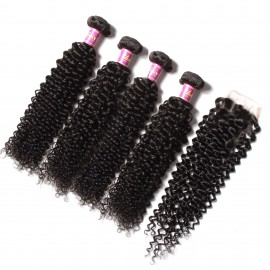 UNice 4pcs Indian Jerry Curly Human Hair Weaves With Closure