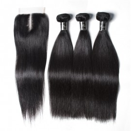 UNice Hair Banicoo Series Best Quality 3 Bundles Raw Virgin Straight With Lace Closure
