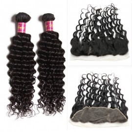 UNice 3pcs Deep Wave Hair Weft With Lace Frontal Closure
