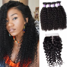 8A Kysiss Series Brazilian Jerry Curly 4 Bundles With Closure