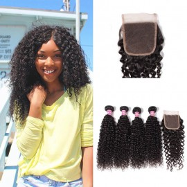 UNice 4 Bundles Peruvian Jerry Curly Hair Extensions With Closure