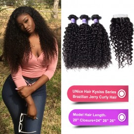 Kysiss Series Brazilian Kinky Curly Hair 3 Bundles with Lace closure