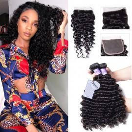 Kysiss Series Good Affordable 4 Bundles Malaysian Deep Wave Hair With Closure