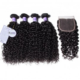Kysiss Series High Quality Peruvian Curly Hair 4 Bundles With Lace Closure