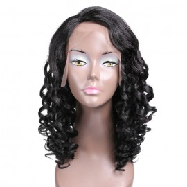 UNice 100% Curly Human Hair Lace Front Wigs Deep Wave Wig